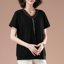 Women's large Summer 2021 black L [recommended 100-115 kg] XL [recommended 115-130 kg] 2XL [recommended 130-145 kg] 3XL [recommended 145-160 kg] 4XL [recommended 160-180 kg] 5XL [recommended 180-200 kg] T-shirt singleton  commute easy thin Socket Short sleeve Solid color Simplicity V-neck routine