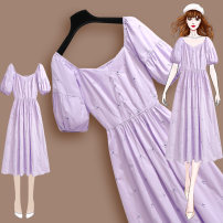 Dress Summer 2021 217171 purple dress S M L XL Mid length dress singleton  Short sleeve commute square neck High waist Solid color Socket A-line skirt bishop sleeve Others 25-29 years old Type A Meen'cou / mengkou Korean version Stitching and stitching 217171#2 More than 95% other other Other 100%