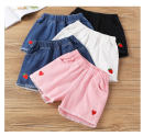 trousers female 160cm,150cm,140cm,130cm,120cm,110cm summer shorts leisure time No model Combat trousers Leather belt middle-waisted Cotton denim Class B 3 months Chinese Mainland