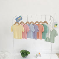T-shirt 130cm,120cm,110cm,100cm,90cm,80cm,140cm female spring and autumn Short sleeve Crew neck Korean version There are models in the real shooting modal  Solid color Class B 3 months Chinese Mainland