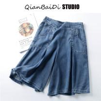 Jeans Summer 2020 Light blue, dark blue M,L,XL Pant High waist Wide legged trousers Thin money