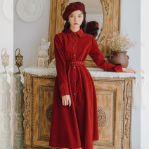 Dress Spring 2020 S M L XL Mid length dress singleton  Long sleeves commute Polo collar High waist Solid color Single breasted A-line skirt routine Others 18-24 years old Type A Gesture rose Retro Lace up button More than 95% polyester fiber Polyester 100% Pure e-commerce (online only)