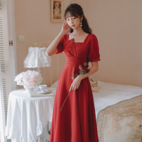 Dress Summer 2021 gules S M L Mid length dress singleton  Short sleeve commute square neck High waist Solid color Socket A-line skirt routine Others 18-24 years old Type A Gesture rose Retro zipper Q8113 More than 95% other Other 100% Pure e-commerce (online only)