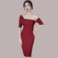 Dress Spring 2021 middle-waisted zipper 25-29 years old other Solid color One pace skirt 81% (inclusive) - 90% (inclusive) cotton 3260 Other / other brocade S,M,L,XL