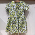 Dress Bubble print dress (white and yellow spot), bubble print dress (mixed green spot) female libramini kids 110cm,120cm,130cm,140cm,150cm,160cm Cotton 100% summer Simplicity Short sleeve Plants and flowers cotton other
