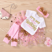 suit Other / other Pink short sleeve 90cm female spring and autumn Europe and America Short sleeve + pants routine No model nothing other cotton children birthday Class B Cotton 95% other 5% 12 months, 18 months