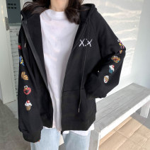 Women's large Autumn 2020 Black grey M L XL Sweater / sweater singleton  commute easy thin Cardigan Long sleeves Cartoon animation Korean version Hood routine cotton printing and dyeing routine Shadow Tong's posture 18-24 years old tie-dyed 30% and below Polyester 75% cotton 25% zipper