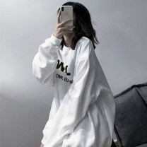 Sweater / sweater Autumn 2020 White black M L XL 2XL Long sleeves routine Socket singleton  Thin money Crew neck easy commute routine letter 18-24 years old 51% (inclusive) - 70% (inclusive) Yinyanna Korean version polyester fiber Embroidery cotton Cotton liner Exclusive payment of tmall