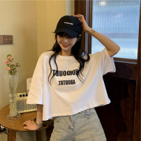 T-shirt White black M L XL Summer 2020 Short sleeve Crew neck easy have cash less than that is registered in the accounts routine commute polyester fiber 51% (inclusive) - 70% (inclusive) 18-24 years old Korean version originality letter Yinyanna G413 printing Pure e-commerce (online only)