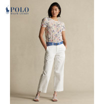 Casual pants 100 white 0 2 4 6 8 10 00 Spring 2021 trousers Wide leg pants Natural waist WMPOPNTNDL20018 POLO RALPH LAUREN Cotton 100% Same model in shopping mall (sold online and offline)