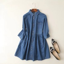 Dress Summer 2020 Denim blue M, L Short skirt singleton  elbow sleeve commute square neck Loose waist Solid color Single breasted Big swing routine MUMUYICHU More than 95% cotton