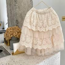 skirt 90cm,100cm,110cm,120cm,130cm,140cm Off white Other / other female Cotton 100% skirt Korean version Solid color Cake skirt blending Class B
