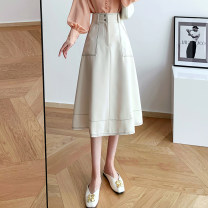 skirt Spring 2021 S,M,L,XL Off white, black Mid length dress commute High waist A-line skirt Solid color Type A 18-24 years old 81% (inclusive) - 90% (inclusive) other polyester fiber Open line decoration, zipper, button, pocket Korean version