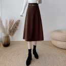 skirt Winter 2020 S,M,L,XL Black, brown Mid length dress commute High waist A-line skirt Solid color Type A 25-29 years old 81% (inclusive) - 90% (inclusive) Wool polyester fiber Lace up, strap, zipper Korean version