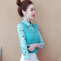 shirt Yellow blue pink S M L XL XXL Spring 2021 other 96% and above Long sleeves Sweet Regular Polo collar Socket shirt sleeve Solid color 25-29 years old Self cultivation Qiusi Butterfly Stitched printed buttons Other 100% Pure e-commerce (online only) princess
