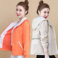 short coat Spring 2021 M L XL XXL Pink apricot orange Long sleeves routine Thin money singleton  easy Versatile Wrap sleeves Hood zipper letter Qiusi Butterfly 96% and above Pocket zipper print other Other 100% Pure e-commerce (online only)