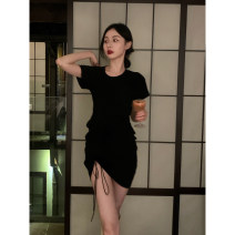 Dress Summer 2021 Black, black Average size Middle-skirt singleton  Short sleeve commute Crew neck High waist Solid color Socket other routine 18-24 years old Type H Retro LQ211L667 More than 95% other cotton