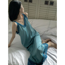 Dress Summer 2021 Morandi ., Morandi S, M Mid length dress singleton  Sleeveless commute V-neck High waist Solid color A-line skirt other straps 18-24 years old Type A Retro Stitching, lace LQ211L657 91% (inclusive) - 95% (inclusive) Silk and satin polyester fiber