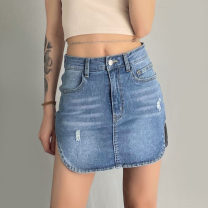 skirt Spring 2021 S,M,L blue Short skirt street High waist skirt other Type O 18-24 years old W21J01649 91% (inclusive) - 95% (inclusive) other KLIOU cotton Make old Europe and America