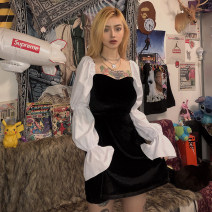 Dress Spring 2020 black S,M,L Short skirt singleton  Long sleeves street Crew neck High waist other Socket other puff sleeve Others 18-24 years old Type X KLIOU 91% (inclusive) - 95% (inclusive) other polyester fiber Europe and America