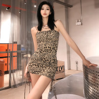 Dress Summer 2021 Leopard Print S,M,L Short skirt singleton  Sleeveless street other High waist Leopard Print Socket One pace skirt other camisole 18-24 years old Type X KLIOU Frenulum K21D00847 91% (inclusive) - 95% (inclusive) other polyester fiber Europe and America
