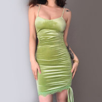 Dress Summer 2021 green S,M,L Short skirt singleton  Sleeveless street other High waist other other One pace skirt other camisole 18-24 years old Type X KLIOU Hollowing out K21D00416 91% (inclusive) - 95% (inclusive) other polyester fiber Europe and America