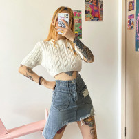 skirt Summer 2020 S,M,L blue Short skirt street High waist Irregular other Type A 18-24 years old G193AQ88 More than 95% other KLIOU cotton Old hole Europe and America