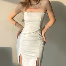 Dress Spring 2021 white S,M,L Short skirt singleton  Sleeveless street One word collar High waist letter Socket other routine Breast wrapping 18-24 years old Type X KLIOU K20D10603 91% (inclusive) - 95% (inclusive) other polyester fiber Europe and America