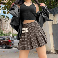 skirt Summer 2021 S,M,L brown Short skirt street High waist Pleated skirt lattice Type A 18-24 years old K21J00856 91% (inclusive) - 95% (inclusive) other KLIOU polyester fiber Three dimensional decoration Europe and America
