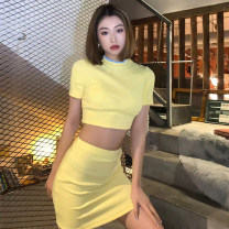 Fashion suit Summer 2021 S,M,L Yellow, blue 18-25 years old KLIOU K20S10990 91% (inclusive) - 95% (inclusive) polyester fiber
