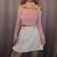 skirt Summer of 2019 S,M,L White, black Short skirt street High waist A-line skirt Solid color Type A 18-24 years old 91% (inclusive) - 95% (inclusive) other KLIOU polyester fiber chain Europe and America