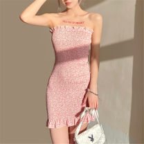 Dress Summer 2021 Pink S,M,L Short skirt singleton  Sleeveless street High waist other Socket One pace skirt Breast wrapping 18-24 years old Type X KLIOU K21D00983 91% (inclusive) - 95% (inclusive) other polyester fiber Europe and America