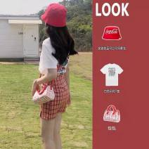 Women's large Spring 2021 S M L XL Dress Two piece set commute Straight cylinder Socket Short sleeve lattice Korean version Crew neck routine routine Chunli leaf 18-24 years old Short skirt Polyester 45% other 55% Pure e-commerce (online only)