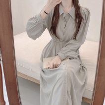 Women's large Winter 2020 Grey green dress Khaki dress S M L XL Dress singleton  commute Self cultivation moderate Socket Long sleeves Solid color Korean version Polo collar routine Chunli leaf 18-24 years old Button Medium length Polyester 45% other 55% Pure e-commerce (online only) other
