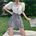Women's large Spring 2021 Plaid skirt white top black top plaid skirt + black top plaid skirt + white top L XL S M Dress Two piece set commute easy Socket Short sleeve lattice Korean version square neck routine sdf2r32. Chunli leaf 18-24 years old Short skirt Polyester 45% other 55% other