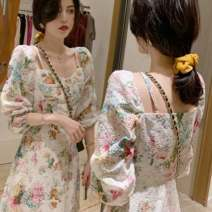 Women's large Spring 2021 Floral skirt L XL S M Dress singleton  commute Self cultivation Conjoined Long sleeves Broken flowers lady square neck routine df6+as5re6 Chunli leaf 18-24 years old longuette Polyester 45% other 55% Pure e-commerce (online only) Princess Dress