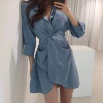 Women's large Spring 2021 S M L XL Dress singleton  commute Self cultivation Conjoined Long sleeves Solid color Korean version V-neck routine Chunli leaf 18-24 years old Middle-skirt Polyester 45% other 55% Pure e-commerce (online only) Irregular skirt