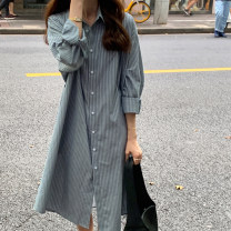 Women's large Winter 2020 Gray blue stripe S M L XL Dress singleton  commute Straight cylinder Socket Long sleeves stripe Retro Polo collar shirt sleeve DL6600 Chunli leaf 18-24 years old Button longuette Polyester 55% other 45% Pure e-commerce (online only)