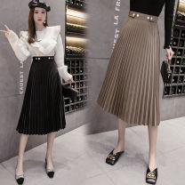 skirt Autumn of 2019 S M L XL Black Khaki dark green Mid length dress Versatile High waist Pleated skirt Solid color Type A 25-29 years old ZX100320A More than 95% Show other Other 100%