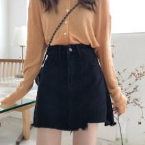 skirt Spring 2020 S,M,L,XL black Short skirt Versatile High waist A-line skirt 91% (inclusive) - 95% (inclusive) Denim