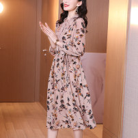 Dress Spring 2021 Pink flower with green background and black spot M L XL XXL Mid length dress singleton  Long sleeves commute stand collar middle-waisted Decor Socket other shirt sleeve Others 40-49 years old Jessiro / jessilo Simplicity Pleated fungus lace SN2106B More than 95% silk