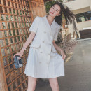 Dress Summer 2021 White, black S,M,L Middle-skirt singleton  Short sleeve commute tailored collar High waist Solid color double-breasted routine 25-29 years old Korean version Button, button More than 95% other other