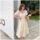 Dress Summer 2021 Middle-skirt singleton  Short sleeve Sweet square neck middle-waisted Condom A-line skirt puff sleeve Type A Other / other 4828 L,M,XL,S Pink flowers, yellow flowers
