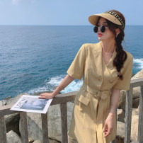 Dress Summer 2021 Yellow, off white S,M,L,XL Mid length dress singleton  Short sleeve commute Polo collar High waist Solid color zipper other routine 25-29 years old Type A