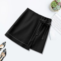 skirt Autumn 2020 S,M,L,XL,2XL,3XL black Short skirt commute High waist Irregular Solid color Type A 18-24 years old 81% (inclusive) - 90% (inclusive) other polyester fiber Korean version 61G / m ^ 2 (including) - 80g / m ^ 2 (including)