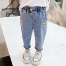 trousers Suger bubble female 80cm,90cm,100cm,110cm,120cm,130cm blue spring and autumn trousers Korean version There are models in the real shooting Casual pants Leather belt middle-waisted cotton Don't open the crotch Other 100% 2q34-2 smiling face labeling jeans Class B Chinese Mainland Huzhou City