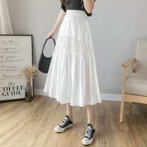 skirt Summer 2021 S M L XL White black Mid length dress commute High waist A-line skirt Solid color Type A 25-29 years old 91% (inclusive) - 95% (inclusive) Chiffon Xoonwen / Xuanwen polyester fiber fold Korean version Other polyester 95% 5% Pure e-commerce (online only)
