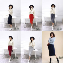 skirt Autumn of 2018 S,M,L,XL Dark grey, grey, black, red, Burgundy, navy Middle-skirt Versatile A-line skirt 81% (inclusive) - 90% (inclusive) knitting cotton