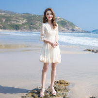 Dress Summer 2021 Apricot XS,S,M,L Short skirt singleton  Short sleeve commute V-neck High waist Solid color zipper A-line skirt pagoda sleeve Others 25-29 years old Type A Retro More than 95% other other