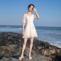 Dress Summer 2021 Light pink XS,S,M,L Short skirt singleton  Short sleeve Sweet V-neck High waist Solid color zipper A-line skirt routine Others Type A Bow, tie, zipper D—851 More than 95% other other college